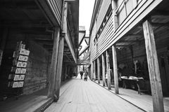 卑尔根缩小的街道 免版税库存照片