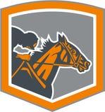 骑师减速火箭赛马的盾 免版税库存图片