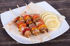 Ψημένα στη σχάρα κρέας και λαχανικά Στοκ Εικόνα