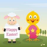 小鸡&羊羔用复活节彩蛋 库存图片