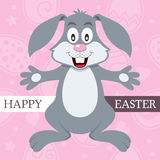 Ροζ ευτυχής κάρτα Πάσχας με το κουνέλι λαγουδάκι Στοκ Εικόνα