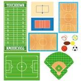 Αθλητικοί τομείς καθορισμένοι απομονωμένοι στο άσπρο υπόβαθρο Στοκ Εικόνες