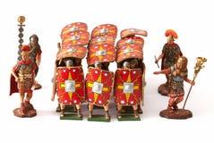 与密集队罗马玩具交战 库存图片