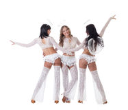 作为天使打扮的快活的戈戈舞的舞蹈家的图象 库存图片