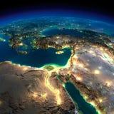 夜地球。非洲和中东 免版税库存照片