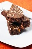 巧克力蒜味咸腊肠 库存照片