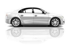 侧视图演播室被射击白色汽车 免版税库存图片