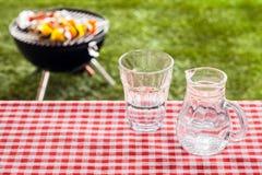 杯与一个水罐的淡水在野餐桌上 图库摄影