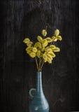 束有柔荑花和黄色花粉的杨柳枝杈,在老蓝色花瓶 免版税图库摄影