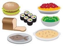Απεικόνιση των διαφορετικών εικονιδίων τροφίμων Στοκ Εικόνες