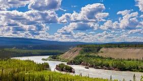 五阵手指急流风景育空河加拿大 免版税库存图片