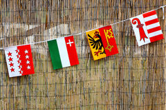 Швейцарские флаги Стоковая Фотография RF