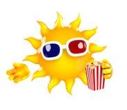 τρισδιάστατος ήλιος στους κινηματογράφους Στοκ Εικόνες