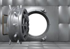 打开银行地下室门 免版税库存照片