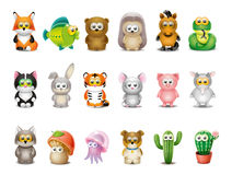 被设置的动画片动物 免版税库存照片