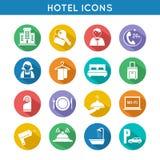 Εικονίδια ταξιδιού ξενοδοχείων καθορισμένα Στοκ Φωτογραφία