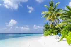 Пляж в Мальдивах Стоковые Изображения RF