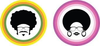 蓬松卷发男人和妇女传染媒介 免版税图库摄影