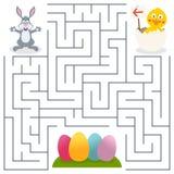 孩子的小兔&复活节彩蛋迷宫 图库摄影