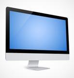与蓝色屏幕的计算机显示器 免版税库存照片
