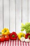 在红色方格的桌布的新鲜蔬菜 免版税图库摄影
