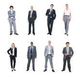 白色背景的不同种族的商人 库存照片