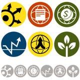 Значки глобального бизнеса Стоковые Фото