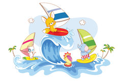 冲浪在海滩的动物 免版税库存照片