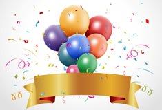 与气球和丝带的五颜六色的生日庆祝 免版税库存图片