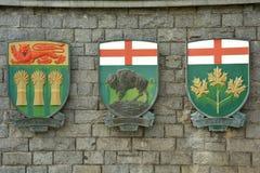 徽章萨斯喀彻温省、马尼托巴和安大略,加拿大省的。 免版税库存图片