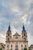 集市广场的教会在路德维希堡,德国 免版税库存照片