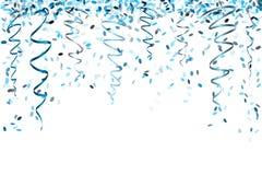 落的蓝色五彩纸屑 库存照片
