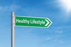 健康生活方式路标 免版税库存照片