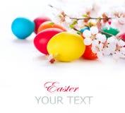 复活节。五颜六色的复活节彩蛋 图库摄影
