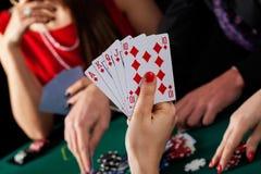 扑克牌游戏优胜者 库存图片