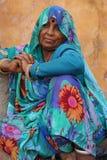 被刺字的印地安夫人。拉贾斯坦,印度。 库存图片