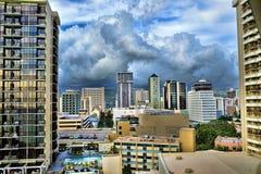 威基基,夏威夷地平线。 免版税库存图片