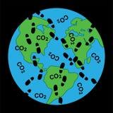 Пакостные следы ноги на экологичности земли Стоковое Изображение RF