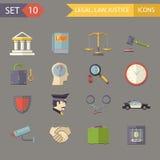 Иллюстрация вектора значков правосудия ретро плоского закона законная и комплекта символов Стоковое Изображение