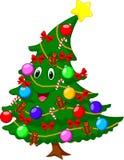 圣诞树漫画人物 免版税库存照片