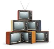 堆老电视 免版税库存照片