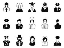 Επαγγέλματα, είδωλα, εικονίδια χρηστών καθορισμένα Στοκ Φωτογραφία