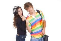 在他们的回归的夫妇到学校 库存照片