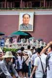 毛画象在天安门广场 库存照片
