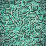 不同的形状抽象快乐的微笑的无缝的样式  免版税库存图片