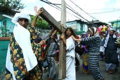 耶稣基督死亡的再制定  免版税图库摄影