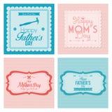 Счастливые карточки шаблона отца и Дня матери Стоковое фото RF