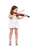 有小提琴的小女孩 免版税库存图片