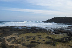 小绿色沙子海滩夏威夷 库存图片