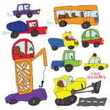 儿童的手凹道汽车元素。滑稽的色的动画片乱画 免版税库存照片
